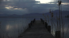Landing stage on Chiemsee at the morning  Stock Footage