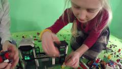 Children designer build a house and car. Stock Footage