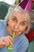 Senior Woman Enjoying Party Celebrations Stock Photos
