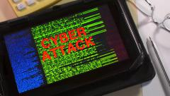 Computer system cyber attack on a digital tablet. Stock Footage