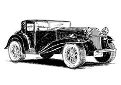 Vintage Retro Classic Old Car Vector Illustration - stock illustration