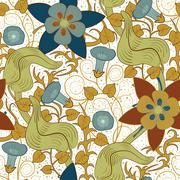 Vector seamless vintage floral pattern. Flowers on a white background - stock illustration