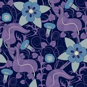 Vector seamless vintage floral pattern. Flowers on a blue background - stock illustration
