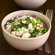 Couscous Asparagus Pea Radish Salad - stock photo