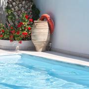 Santorini kamari Pool Stock Photos