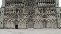Exterior of the facade of the Nidaros cathedral in Trondheim, Norway. Stock Footage