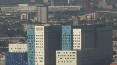 Aerial view famous London stadium town architecture modern block design day UK - stock footage