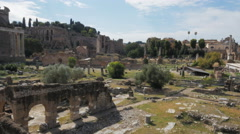 Morning wide angle view of the site of the ancient forum, rome Stock Footage