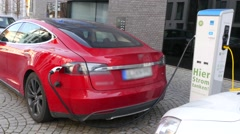 Electric Car Refuel With Power - stock footage