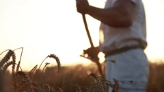 A man mows a golden wheat Stock Footage