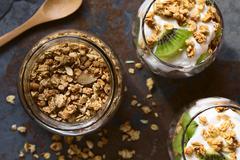 Crunchy Granola and Parfait Stock Photos