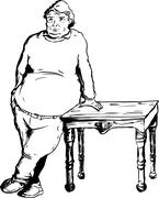 Calm Man Leaning on Table - stock illustration