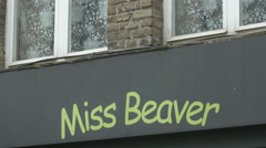 Miss Beaver shop sign on Noordzandstraat in Bruges Stock Footage