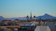 Geneva skyline day to night timelapse Stock Footage