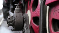 Close up of an old steam locomotive wheels - stock footage