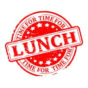 Scratched red round seal with the inscription - lunch, time for  - vector - stock illustration