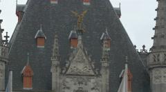 Provinciaal Hof building's black roof with sculptures in Bruges Stock Footage