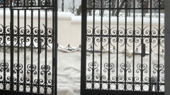 The iron gates, movement, Belarus, Minsk, the old town Stock Footage