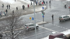 City street, an intersection, pedestrians, cars Stock Footage