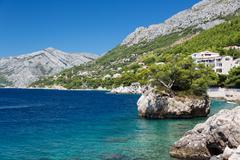 Croatian beach at a sunny day, Brela, Croatia - stock photo