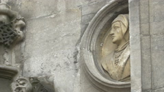 Bas-relief on Basilica of the Holy Blood in Burg Square, Bruges Stock Footage