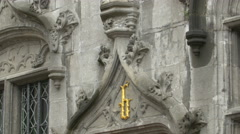 Tilt up view of Basilica of the Holy Blood in Burg Square, Bruges Stock Footage