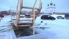 Orthodox holiday of Epiphany. Making Ice-Hole For Winter Swimming. Stock Footage