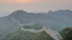 Sunset zoom in view of the great wall of china, jinshanling Stock Footage