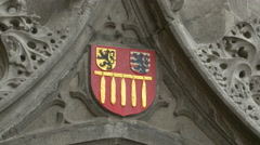Coat of arms on Basilica of the Holy Blood in Bruges Stock Footage