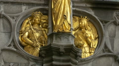 Golden bas-reliefs on Basilica of the Holy Blood in Burg Square, Bruges Stock Footage