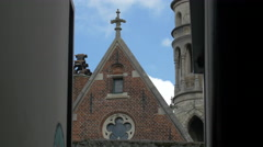 Basilica of the Holy Blood seen from a street in Bruges Stock Footage
