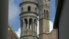 Basilica of the Holy Blood's towers in Bruges Stock Footage