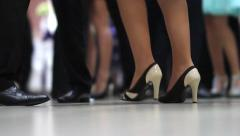 Dancing feet people at the wedding party. Dancer makes their steps Stock Footage