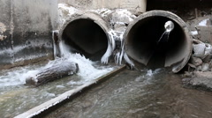 A waste water drainage pipe. Stock Footage