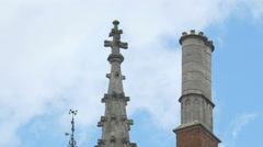 View of the beautiful Provinciaal Hof's spire and chimney in Bruges Stock Footage