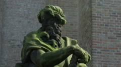 View of a man statue outside Saint Salvator's Cathedral in Bruges Stock Footage