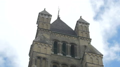 Low angle view of Saint Salvator's Cathedral tower in Bruges Stock Footage