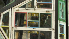 Neon letters inside Wu Wei Er Wei sculpture in Bruges - stock footage