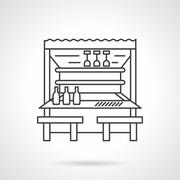 Beach bar flat line vector icon - stock illustration