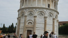 close tilt up shot of the leaning tower of pisa - stock footage