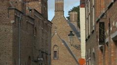 Saint Salvator's Cathedral seen from Korte Vuldersstraat street in Bruges Stock Footage
