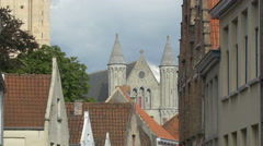 The Church of Our Lady seen on a cloudy day in Bruges Stock Footage