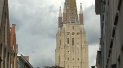 The Church of Our Lady tower in Bruges Stock Footage