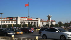 Exterior view of the national museum of china, beijing Stock Footage