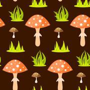 Spring forest mushroom seamless pattern - stock illustration