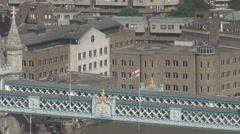 Aerial view Tower Bridge detail London landmark famous design coat of arms UK Stock Footage