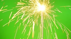 Sparklers on the Green Screen Stock Footage