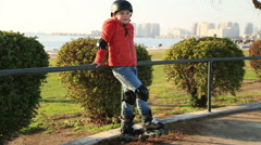 Portrait of a young skater boy Stock Footage