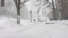 Lone pedestrian walks with dog in snow storm Stock Footage