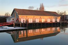 Scotch Pond Net Shed, Steveston, BC Stock Photos